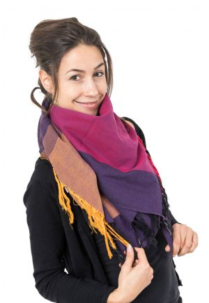 Foulard cheche coton basic ethnic chic chine violet