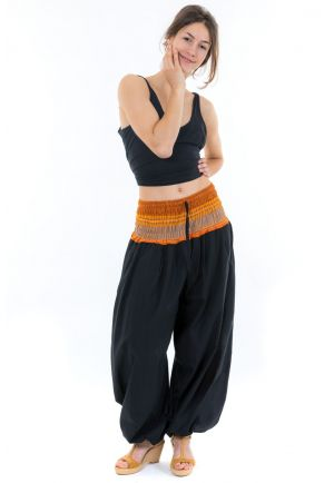 Pantalon sarouel indian chic sari orange face