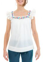 Top femme broderies et manches volantees zoom