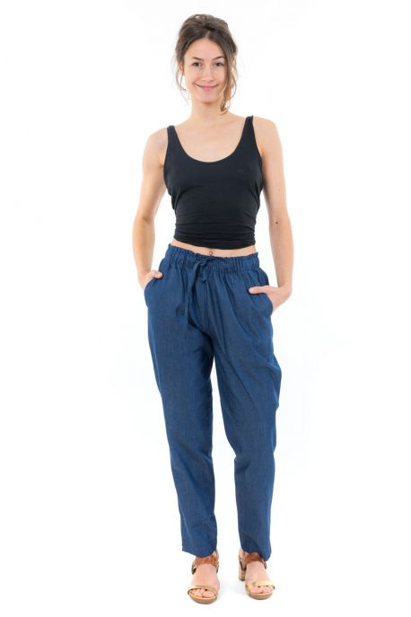 Pantalon jean denim sans fermeture face