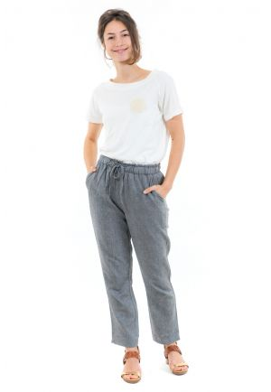 Pantalon casual zen mixte gris face