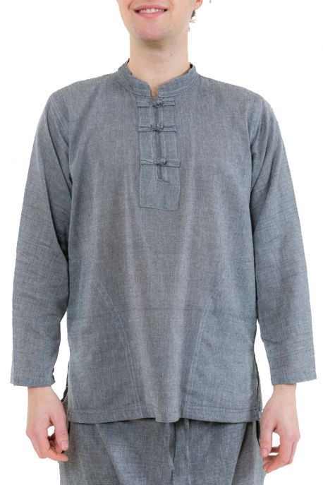 Chemise col mao homme gris chine Louis zoom