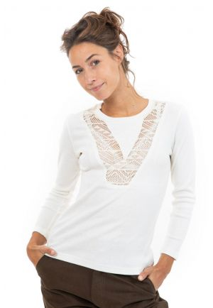 Tee shirt manches longues col V dentelle face
