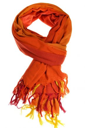 Cheche foulard coton basic ethnic degrade orange chine