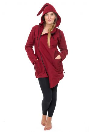 Manteau ethnique asymetrique mi long capuche pointue Flax rouge bordeaux uni