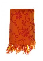 Foulard cheche ethnic organic flower orange rouge