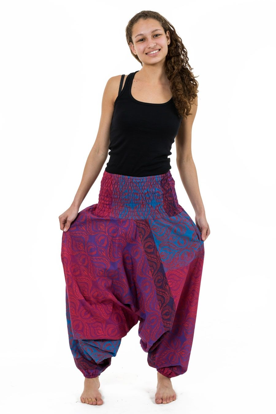Sarouel grande taille 3 en 1 femme babacool new madras chakra - Vetements hippie baba cool ...