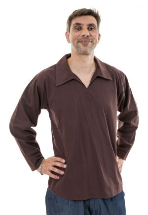 Chemise ethnique col relax grandes poches Thairo face