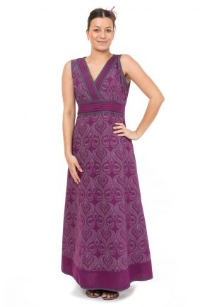 Robe longue imprime ethnic chic Purple rain